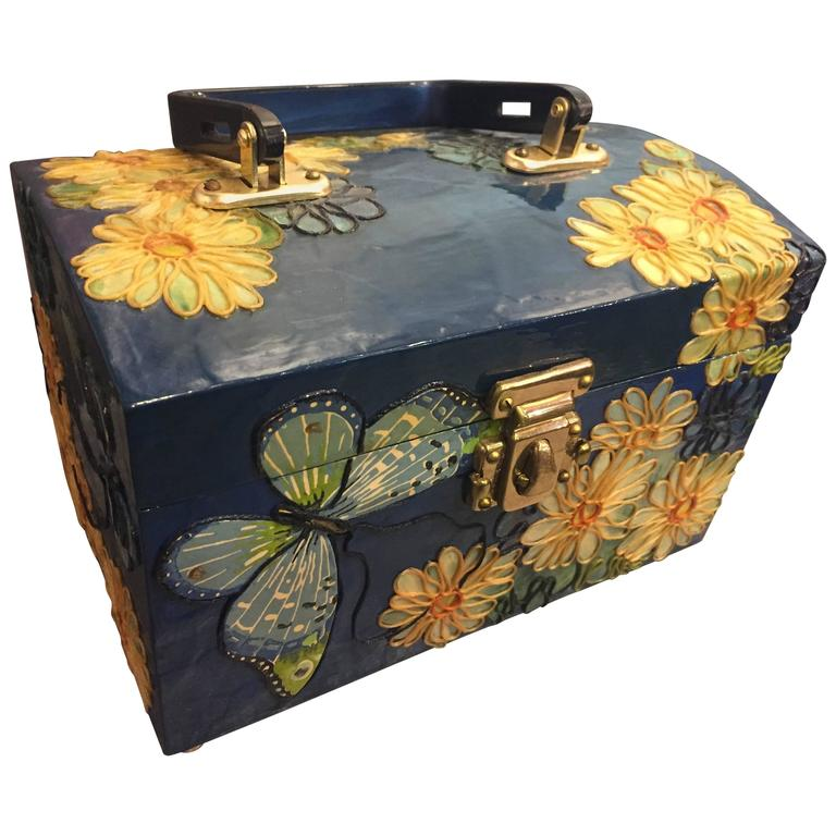 1960s Wooden Box Purse w Painted and Applied Flowers & Butterflies  For Sale