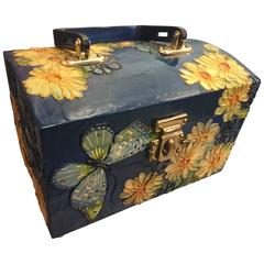 1960s Wooden Box Purse w Painted and Applied Flowers & Butterflies