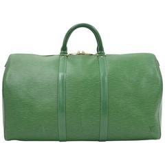Louis Vuitton Keepall 50 Green Epi Leather Travel Bag