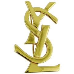 Yves Saint Laurent YSL Gold Toned Logo Brooch