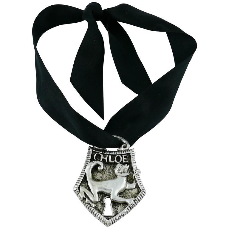 Chloé Silver Toned Monkey Lock Pendant Necklace For Sale