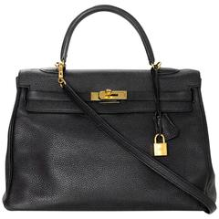 Hermes Black Togo Leather 35cm Retourne Kelly Bag GHW w/ Receipt