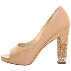 Chanel Nude Open-Toe Cork Heel Pumps Sz 38