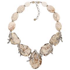"SIMAN TU Haute Couture c.2011 ""Veined White Turquoise"" Pendant Necklace"