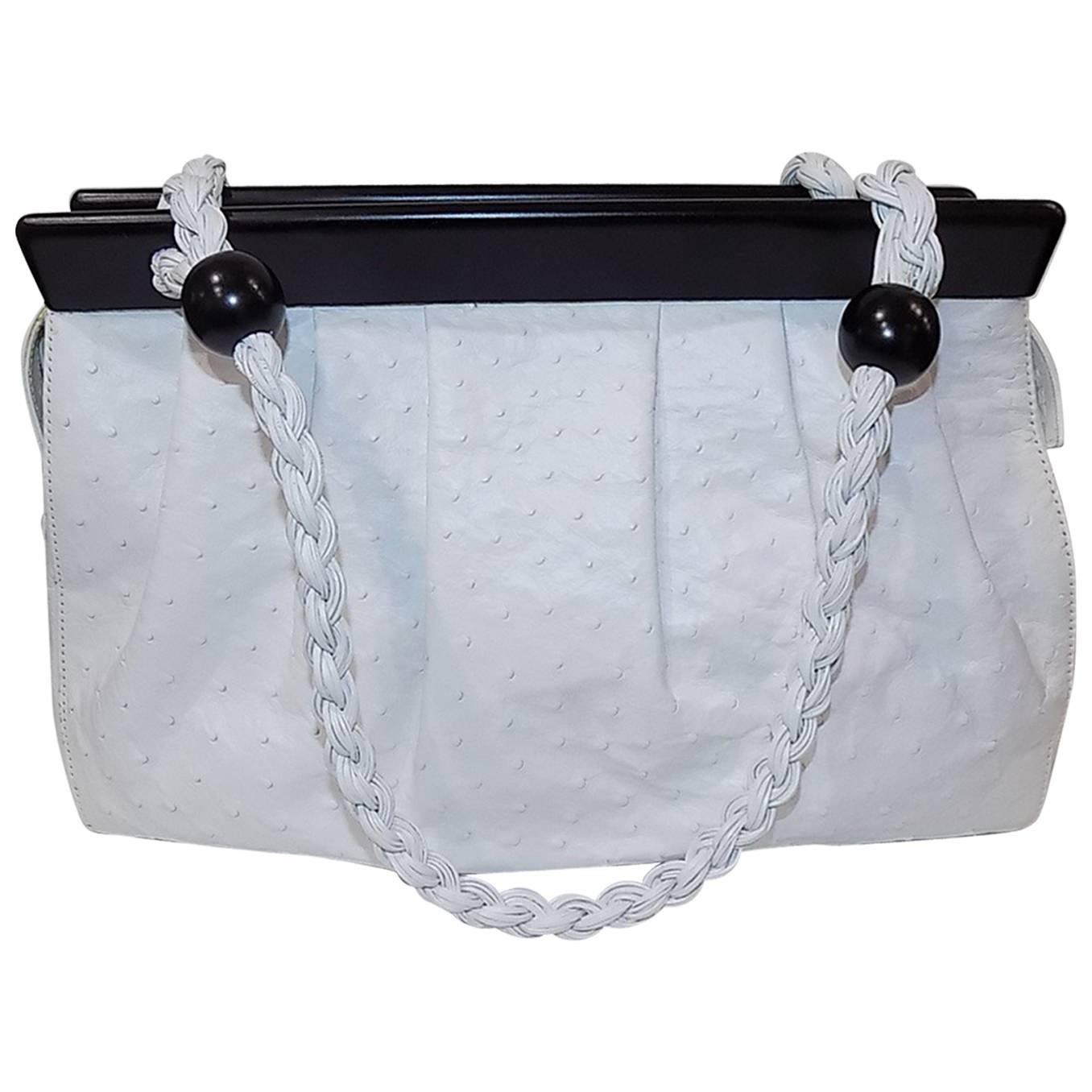 Casa Suarez New White Ostrich Bag With Ebony Frame TP2uYN3l7
