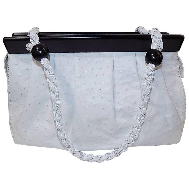 Suarez New white Ostrich Bag with ebony frame 1