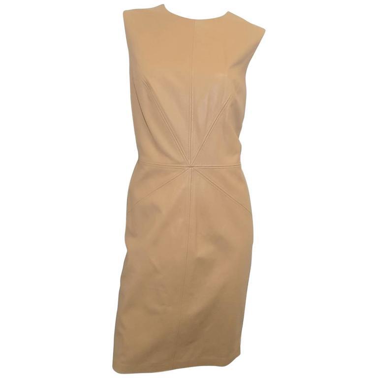 NEW Escada top stitch Lamb Leather sleeveless shift dress Sz 42 US 8