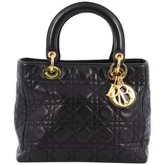 Christian Dior Lady Dior Handbag Cannage Quilt Grained Calfskin Medium