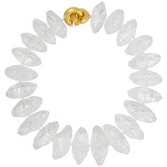 Striking Natural Rock Crystal Necklace Gilt Sterling Silver Statement Necklace