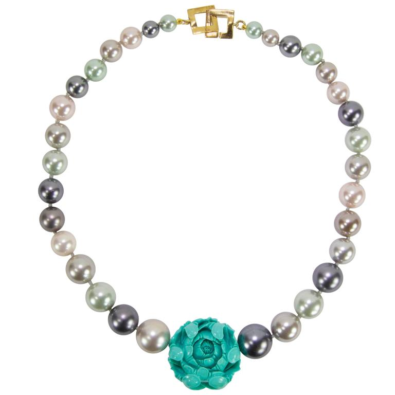 Sriking Faux Pearl and Carved Turquoise Flower Runway Necklace 1