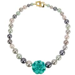 Sriking Faux Pearl and Carved Turquoise Flower Runway Necklace