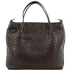 Salvatore Ferragamo Convertible Zip Satchel Woven Leather Large