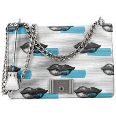 Prada Lock Flap Chain Shoulder Bag Printed Vitello Daino Medium