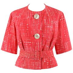 EISA c.1960's CRISTOBAL BALENCIAGA Pink Painterly Check Cotton Blazer & Belt