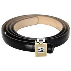 Chanel Black Patent Leather No. 5 Belt sz 36/90