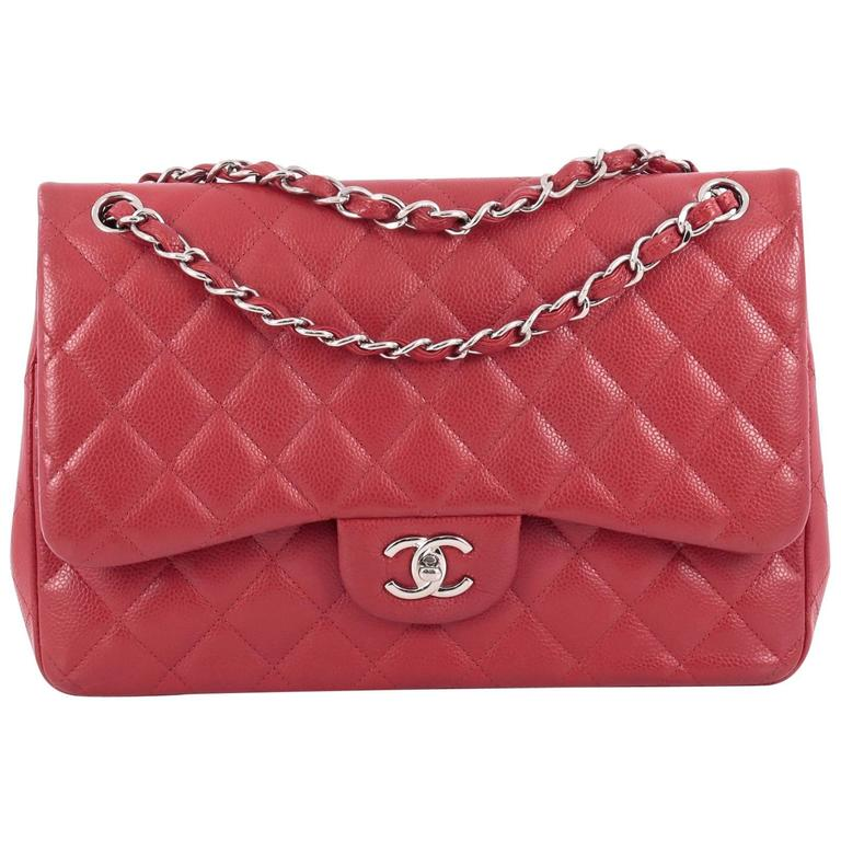 Chanel Classic Double Flap Bag Quilted Caviar Jumbo 1