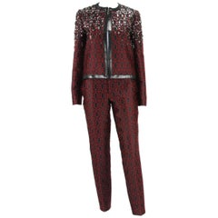 New Gucci Beaded Embellished Black Burgundy Pant Suit It. 40 - US 4/6