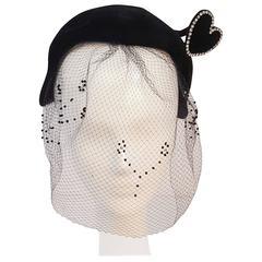 1950s Black Velvet Hat with Rhinestone Heart Embellishment and Veil