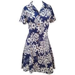 1980s Blue Hawaiian Print Shirt Dress