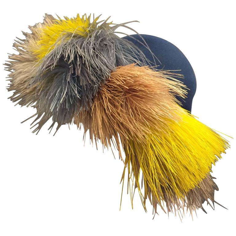 1940's Bes-Ben Slate Blue Felt Hat w Crown of Multi-Color Feathers  For Sale