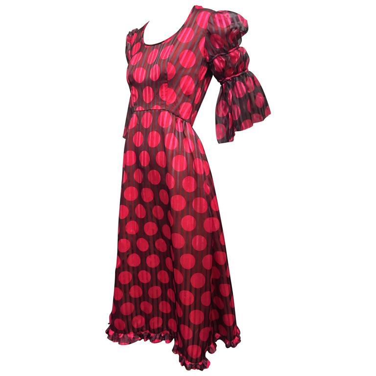 1960's Sarmi Polka Dot Silk Juliette Sleeve Midi Dress   1