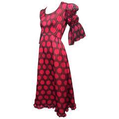 1960's Sarmi Polka Dot Silk Juliette Sleeve Midi Dress
