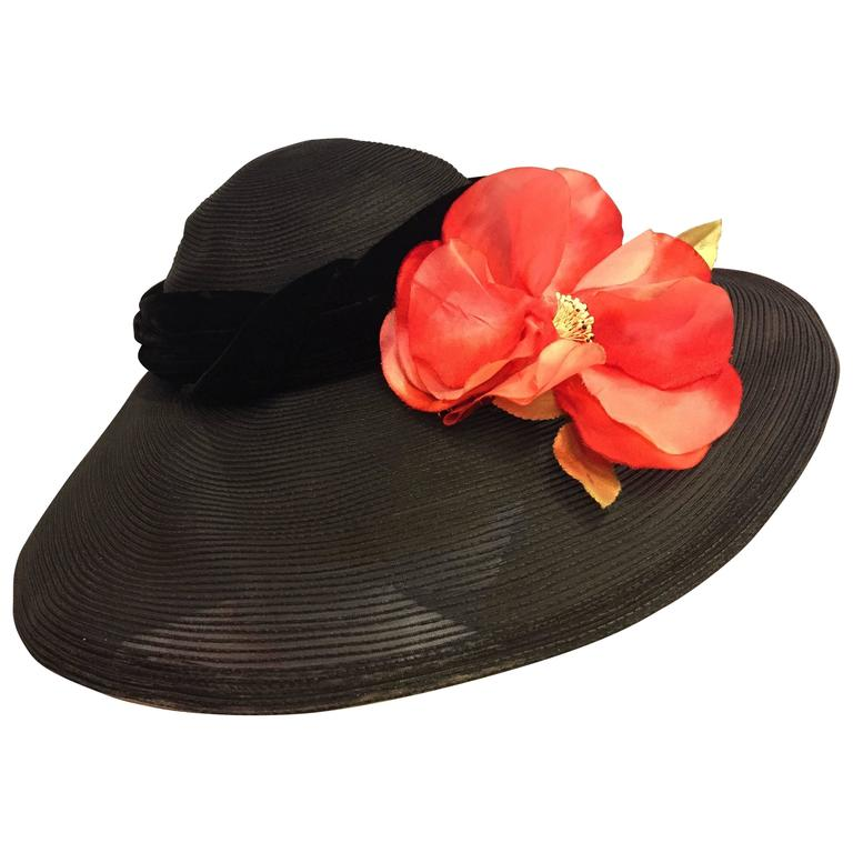 1950's Noreen Black Sheer Wide Brim Hat w/ Red Poppy & Braided Velvet Band