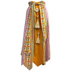 1970's Chessa Davis Folkloric Peasant Quilted Maxi Skirt