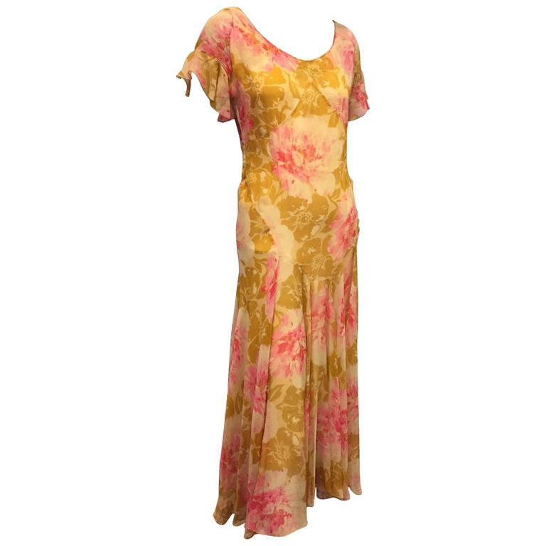 1930's Spring Floral Print Silk Chiffon Tea Dress