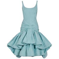 2005 Oscar de la Renta Couture Baby-Blue Silk Sculpted Pouf Cocktail Dress