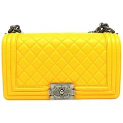 Chanel Boy Flap Yellow Quilted Calfskin Leather Silver Metal Chain Shoulder Bag
