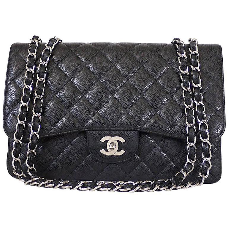 Chanel Black Caviar Jumbo Maxi Classic Flap Bag Silver At