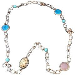 bronze necklace with engraved glass by Patrizia Daliana