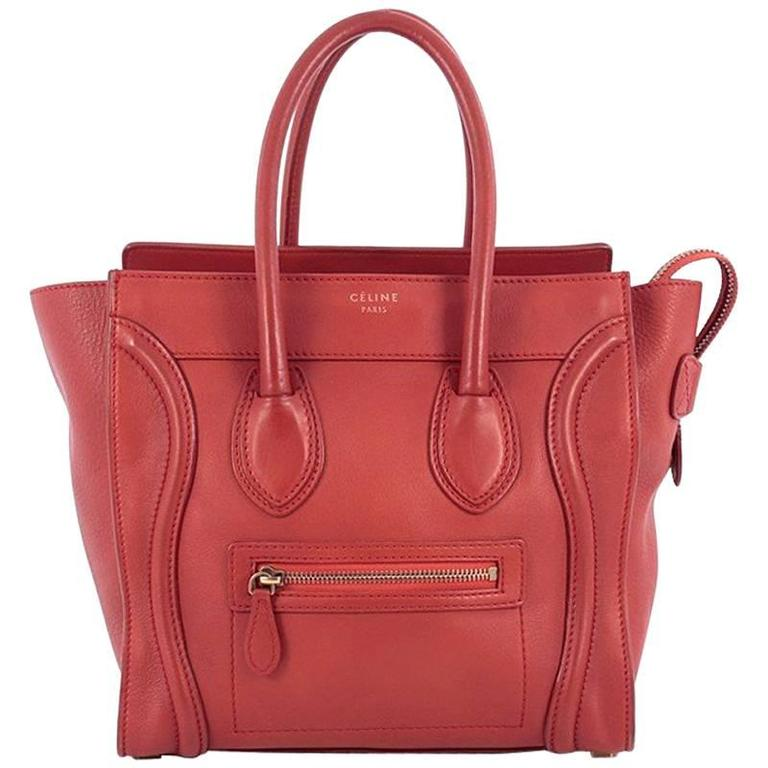 Celine Luggage Handbag Grainy Leather Micro 1
