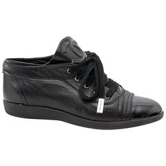 Chanel Black Leather Sneaker - Size: 36