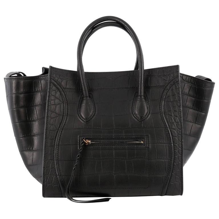 Celine Phantom Handbag Crocodile Embossed Leather Medium 1
