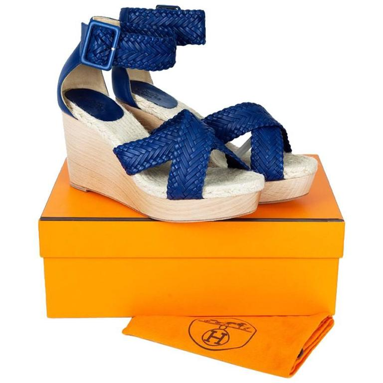 72dc422a36b0 Wedge Sandals HERMES T 39 FR  Cordoba  Model in Blue Leather Straps For  Sale at 1stdibs