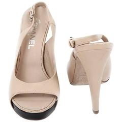 High Sandals CHANEL Size 38FR in Beige Lambskin