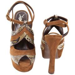 YSL High Heel Sandals 'Tributes' Model 35FR in Brown Velvet Calfskin and Python