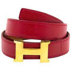 Hermès Red Constance H 28 mm Belt