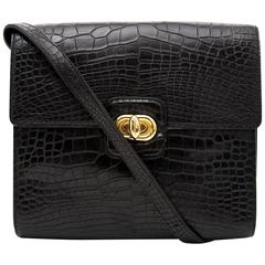 Delvaux Black Croco Crossbody Bag