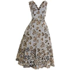 1950s Vintage Butterfly Brocade Cocktail New Look Circle Dress