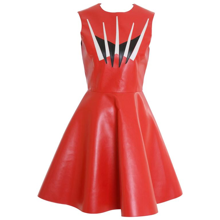 DOMENICO CIOFFI Made in Italy Red Vinyl Leather Mini Dress
