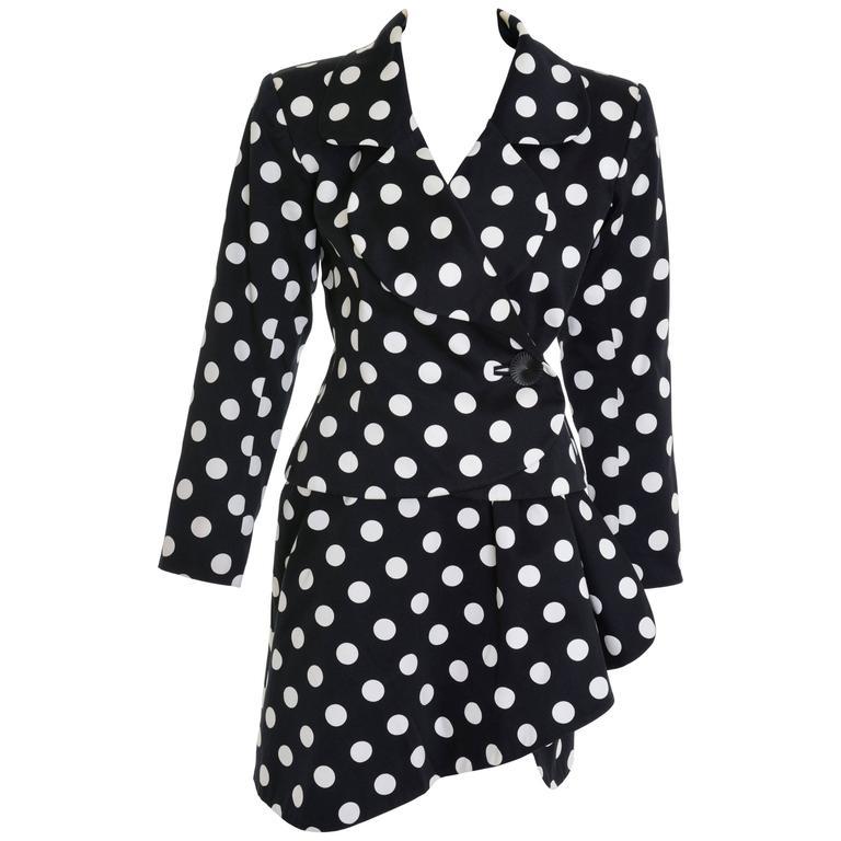 1990s YVES SAINT LAURENT Rive Gauche Black Polka Dots Suit Skirt For Sale