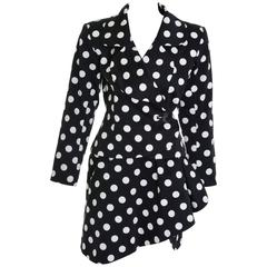 1990s YVES SAINT LAURENT Rive Gauche Black Polka Dots Suit Skirt