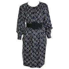 1980s YVES SAINT LAURENT Rive Gauche Black and White Cotton Dress