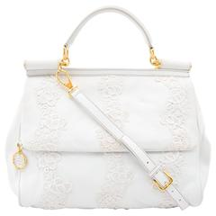 Dolce & Gabbana White Leather & Lace Sicily Bag