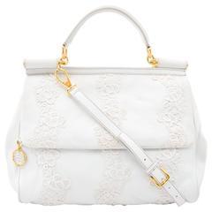 Dolce & Gabbana White Leather & Lace Sicily Bag