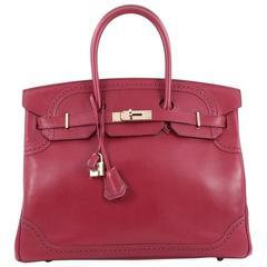 Hermes Birkin Ghillies Handbag Rubis Tadelakt with Gold Hardware 35