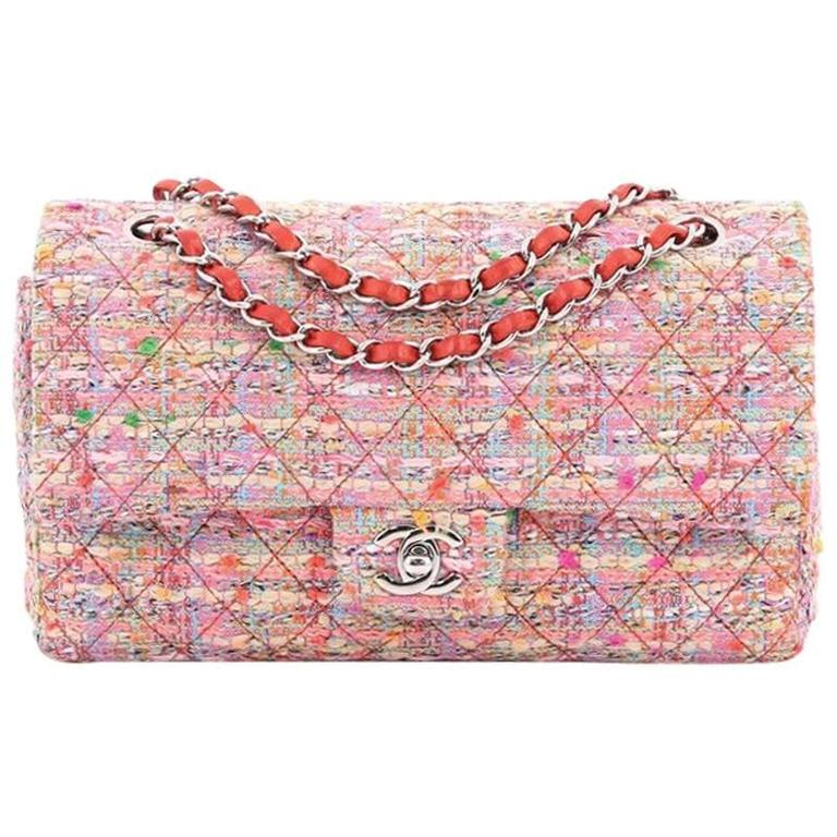 549e8b1173d7 Chanel Classic Double Flap Bag Multicolor Quilted Tweed Medium For Sale